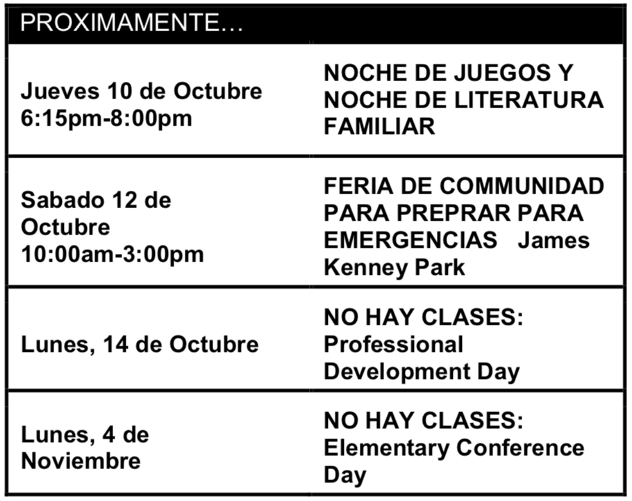 Proximamente Oct. 10-Nov. 4