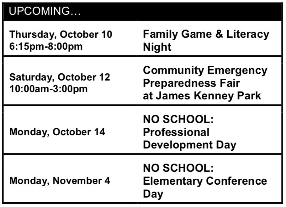 Upcoming Oct. 10-Nov. 4