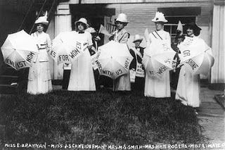 Suffragettes with their parasols