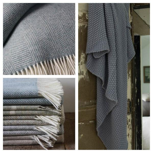 Clockwise from top Merino Wool Throw in Herringbone Aqua £85, Moss Stitch Throw in Charcoal £65, Merino Wool Throws £85