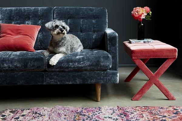 Abigail 3 seat sofa in Hudson, Roosevelt Velvet £1,810, Maud rectangular footstool in Dusty Rose Velvet, £255