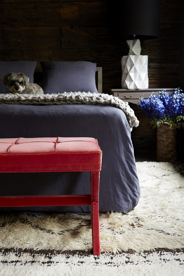 """The Celeste & Maud Footstools both available in square or rectangular sizes from £225. Maudshown in Dusty Rose Velvet, £255 (left), Celeste shown in Prussian Blue Velvet, £255 (right). """"  I had to include footstools in my collection, as they are some of the most multitalented pieces of furniture you can ever own. Perfect to recline on in the lounge, a glamorous addition to the foot of a bed or an impromptu perch at parties – their uses are endless!"""""""