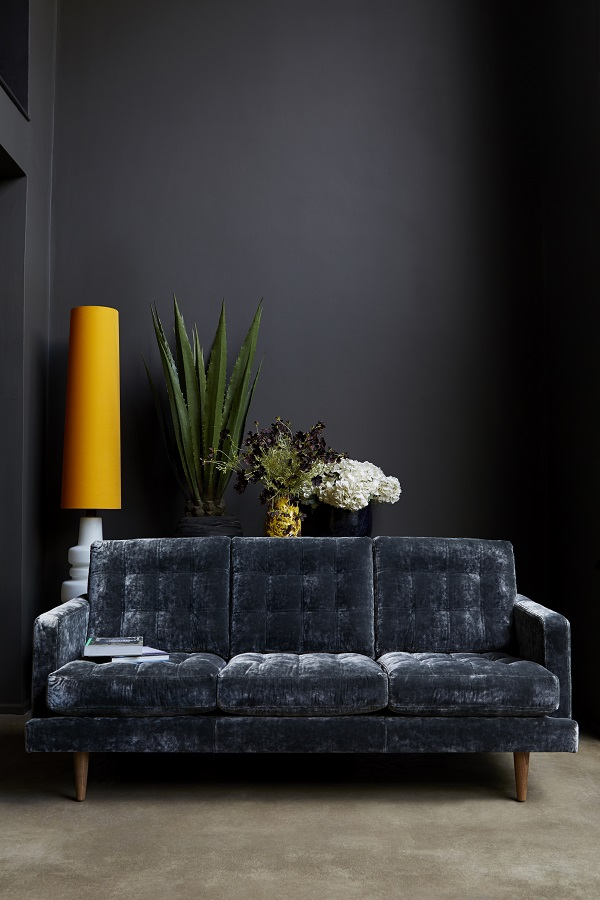 """The Abigail sofa,   from £1,240 shown in Hudson, Roosevelt Velvet £1,810   """"I wanted this to be a forever piece. It's the perfect place to sip a martini, kick back to watch a film, or just hang out with the family."""""""
