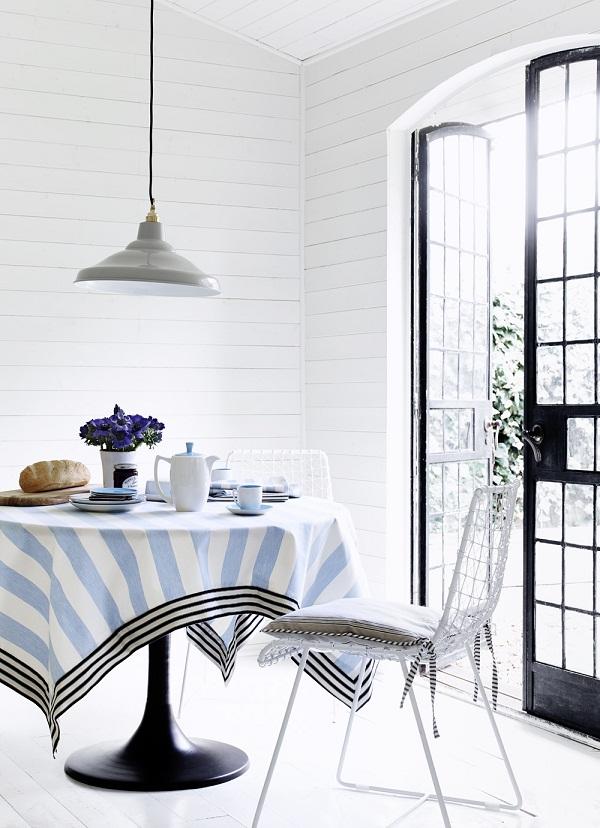Tablecloth in Norfolk Stripe Indigo, Charcoal, seat cover in Devon Stripe Charcoal