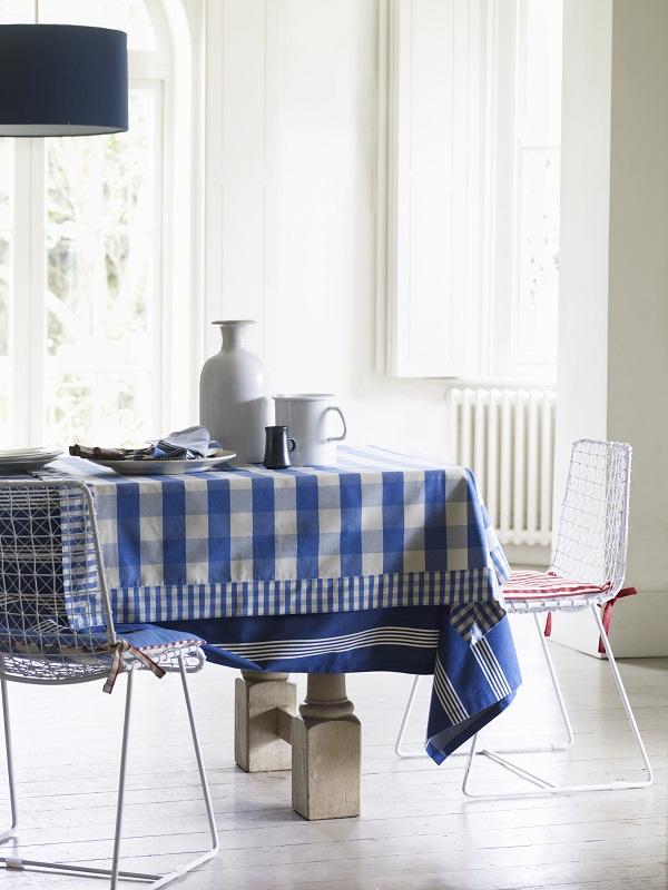 Table with Avon Check Indigo and Oxford Stripe Navy tablecloths