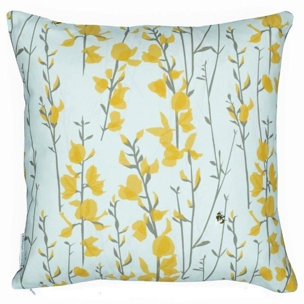 Woven Broom & Bee cushion 30x45cm - sky by Lorna Syson.jpg