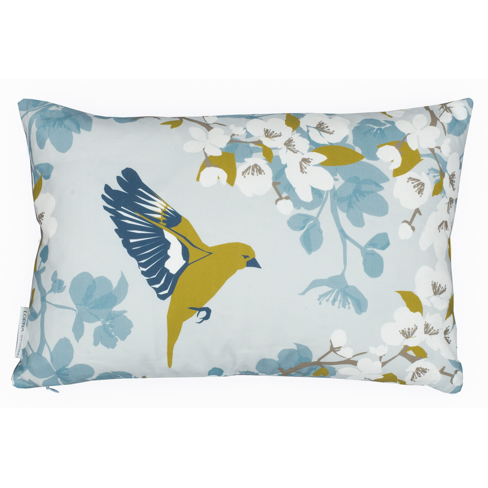 Woven Greenfinch cushion 30x45cm by Lorna Syson.jpg