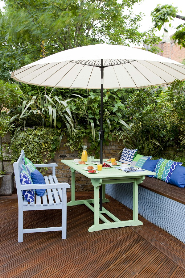 Table: Cuprinol Garden Shades in Green Orchid.   Bench: Cuprinol Garden Shades in Winters Night (both £24.99 2.5L)   Decking: Cuprinol Anti Slip Decking Stain (RRP £24.09 for 2.5L) in Boston Teak.