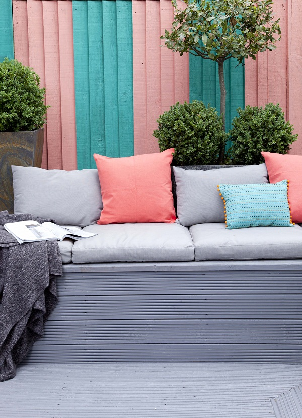 Decking and seat: Cuprinol Anti Slip Decking Stain(RRP £24.09 for 2.5L) in Silver Birch.   Fence: Cuprinol Garden Shades(RRP £24.99 for 2.5L) in Beach Blue and Coral Splash.