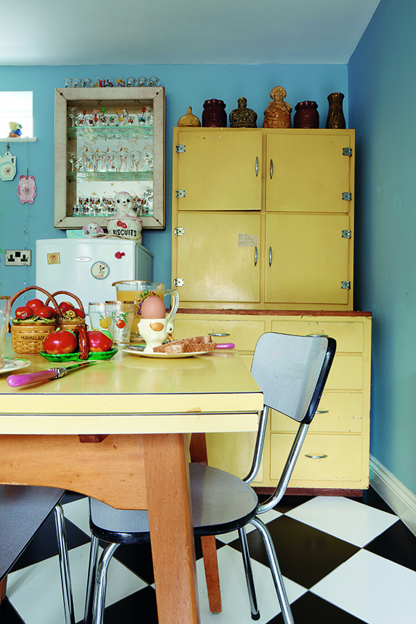 A vintage unit, such as the double-height one shown here, can be stripped, refurbished and painted to match other furniture, such as the melamine-topped table, giving a cohesive and coordinated look.