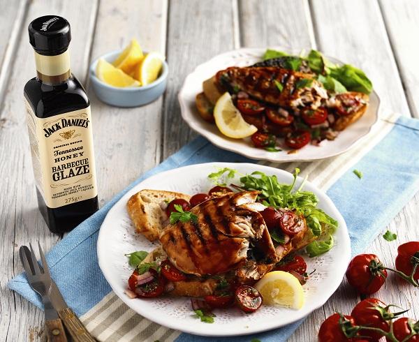 Barbecue Glazed Mackerel with Tomato Salad on Sourdough Toasts via Heart Home mag.jpg