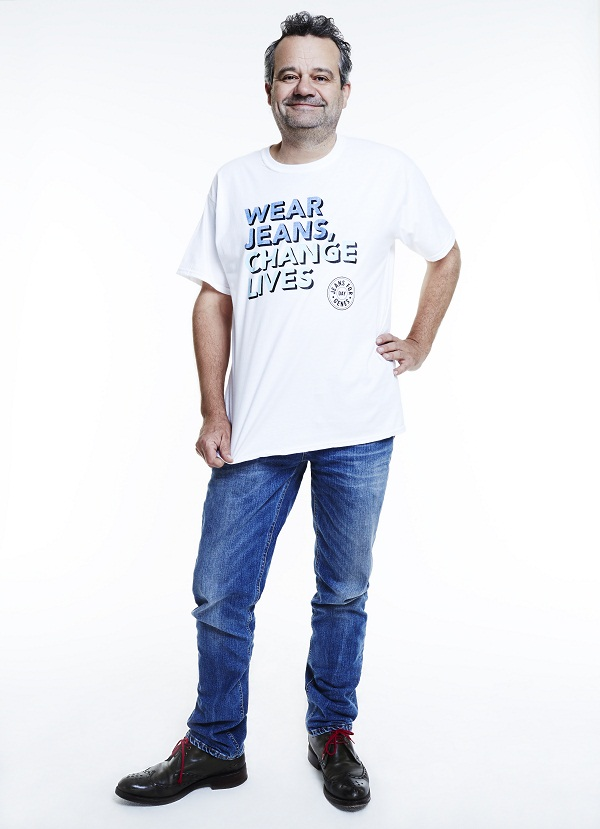 Mark Hix, chef, in Jeans for Genes white campaign t-shirt