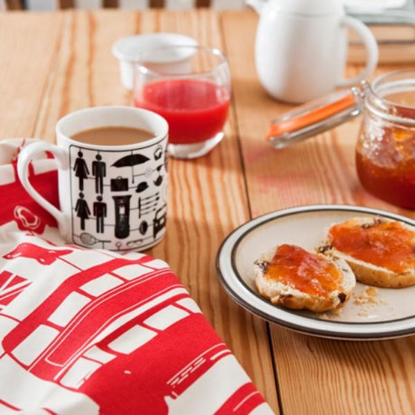 Victoria Eggs airfix mug, red tea towel and breakfast