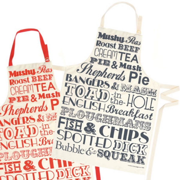 Victoria Eggs English Dinner aprons red and black