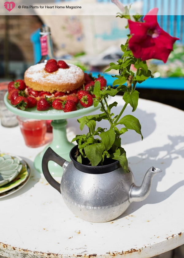After sourcing a plastic plant pot to fit inside its opening, this old teapot is put to good use as an alternative plant pot, complete with drainage spout.