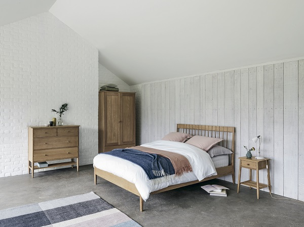 Hartwell Bed £799, Hartwell Wardrobe £1099, Hartwell Side Table £225, Hartwell Chest £750.