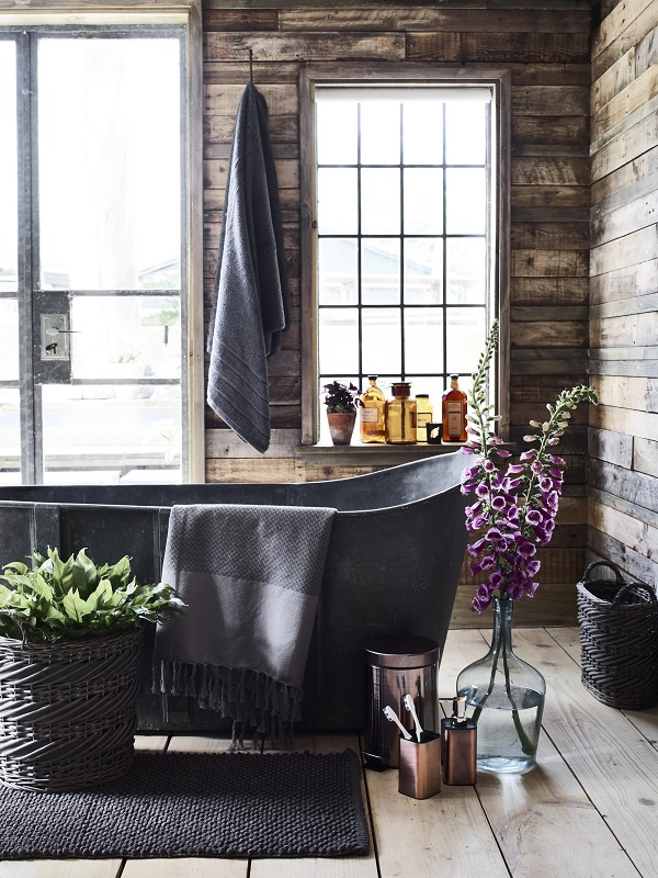 Alpine Lodge Hydra Cotton Bath Towel from £12, Copper 3Ltr Pedal Bin £19, Lotion Dispenser £10, Toothbrush Holder £9, Solstice Throw £12, Split willow oval basket £10.