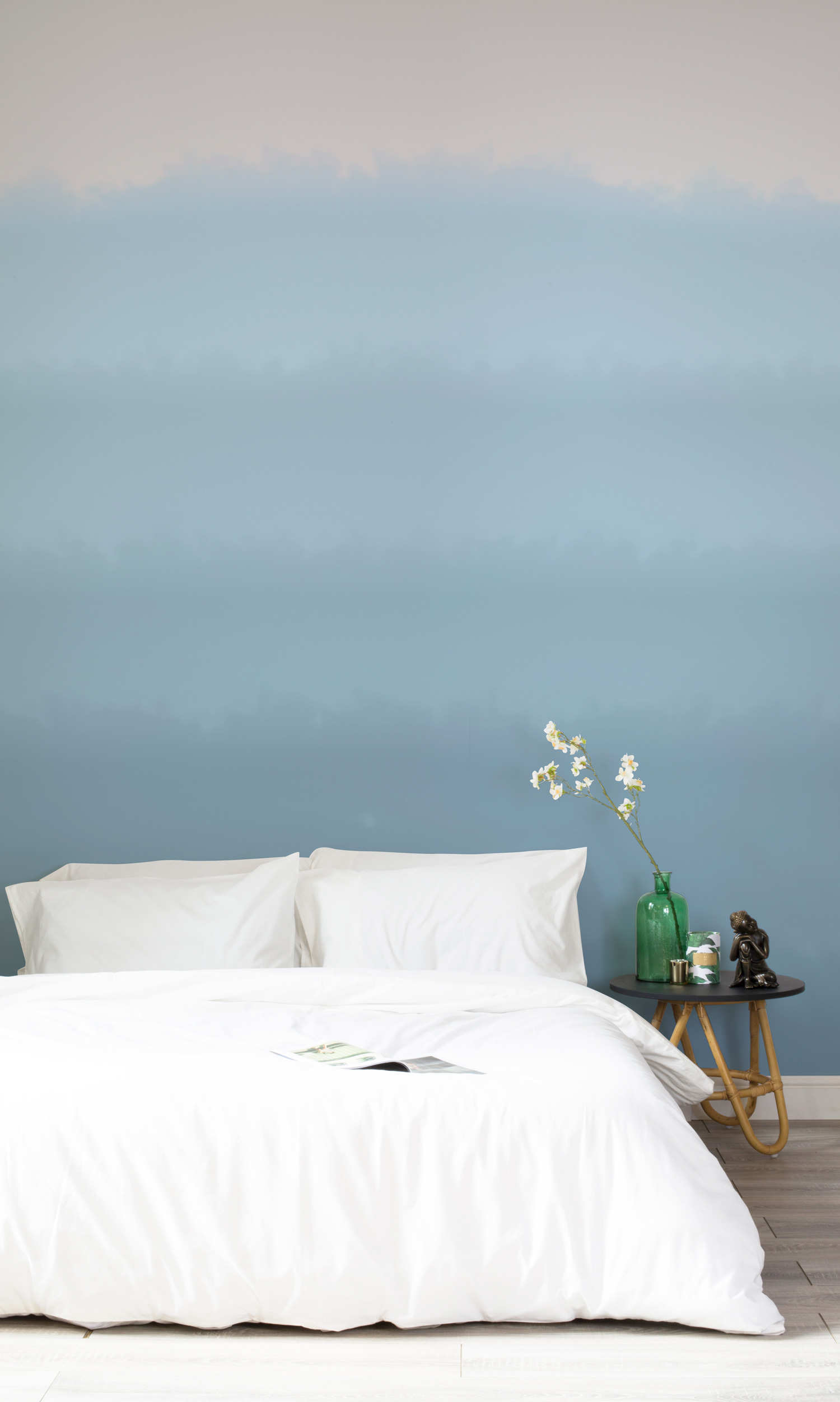 Soft Blue Paint Fade Watercolour Wallpaper