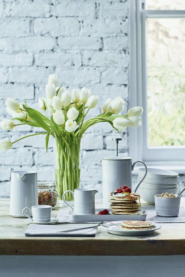 Denby Natural Canvas Range Medium jug, Teacup, Small jug , Cafetiere, Dinner plate, Cereal bowl, Small rectangular plate, Open sugar bowl. All Debenhams.