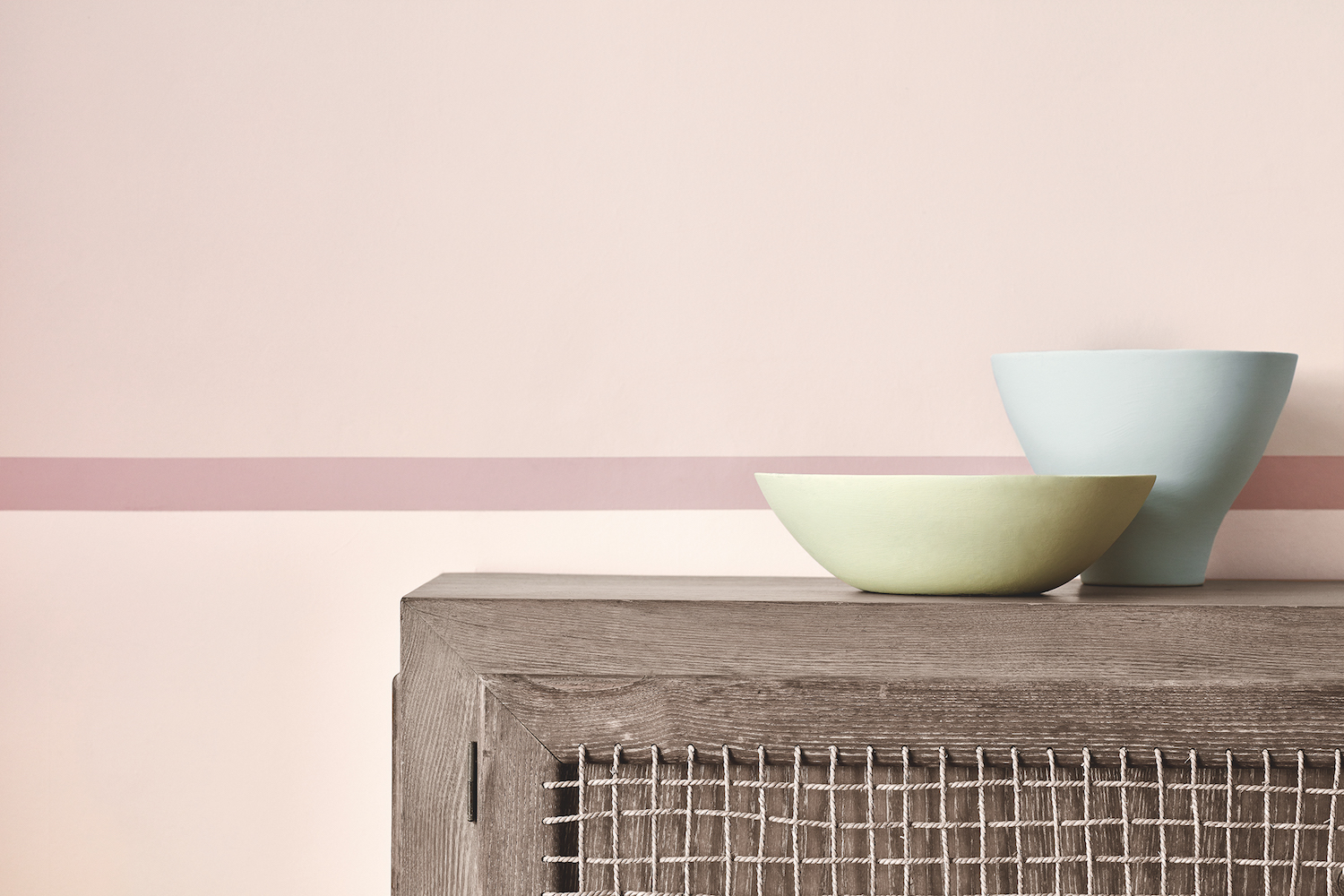 Wall: Dorchester Pink- Pale 285, Detail Outer Stripe and Skirting: Dorchester Pink 213, Large Inner Stripe and Left Wall: Dorchester Pink - Deep 287, Left Bowl: Acorn 87, Right Bowl: Drizzle 217