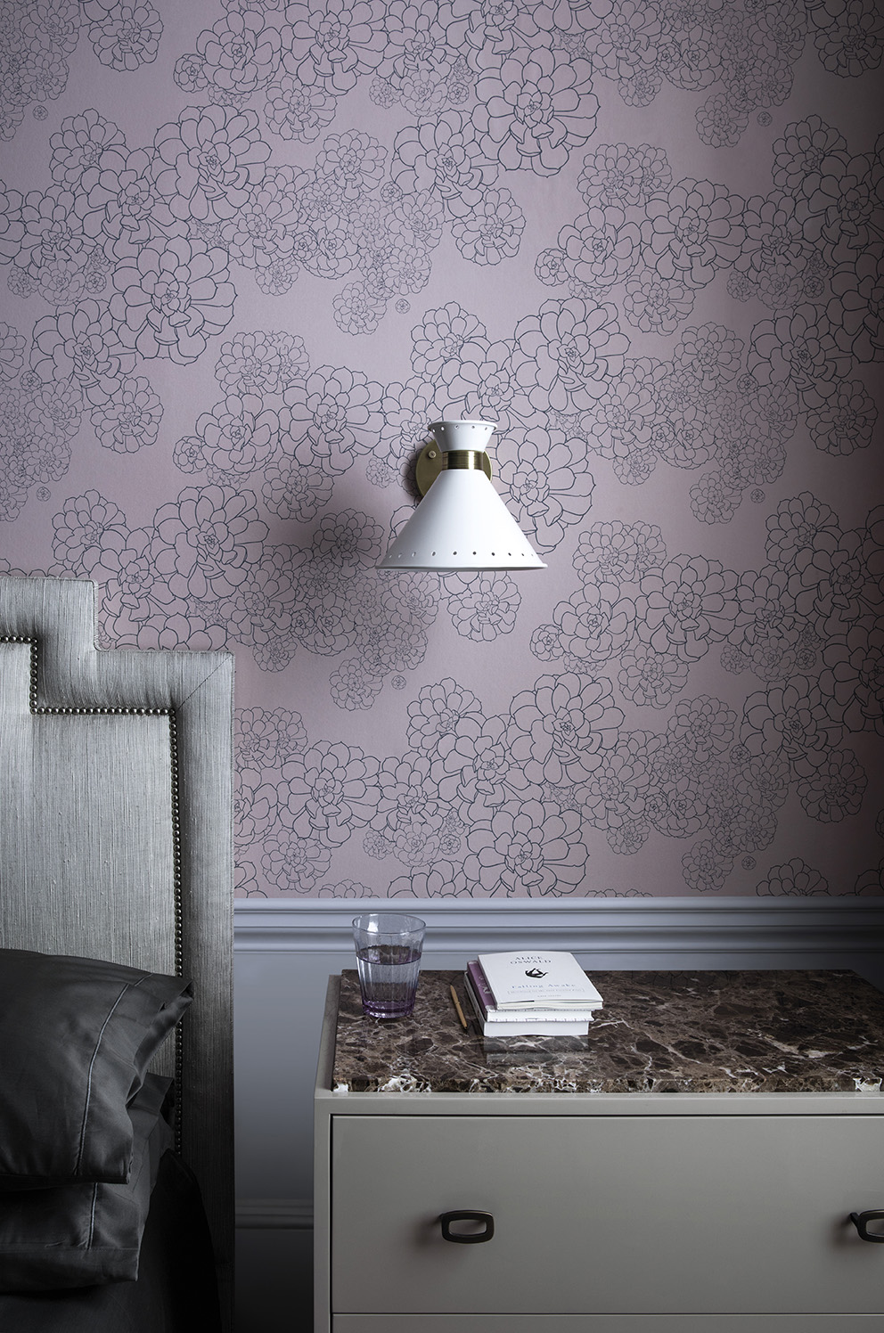 'Tresco' in collaboration with Hugo Dalton by Paint & Paper Library;Wallpaper: Aeonium- Temple (Detail);Paint: Ceiling & Cornice in Marble II 362 in Pure Flat Emulsion and Skirting & Panelling in Quail in Architects' Eggshell.