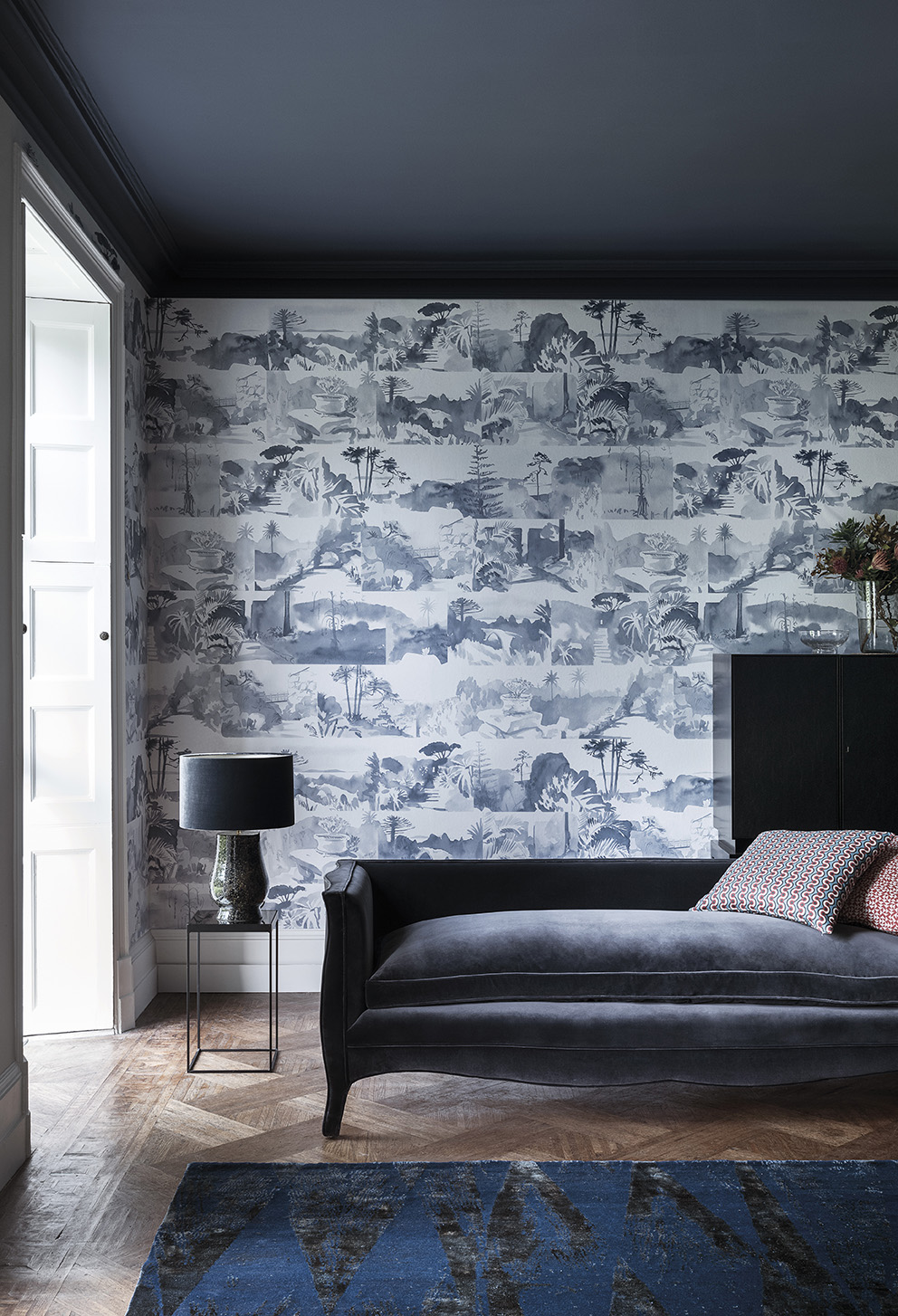 'Tresco' in collaboration with Hugo Dalton by Paint & Paper Library;Wallpaper: Abbey Gardens - Blue Blood;Paint: Ceiling & Architrave in Blue Blood 668 in Pure Flat Emulsion and Window Sill & Skirting in Lead I 681 in Architects' Eggshell.