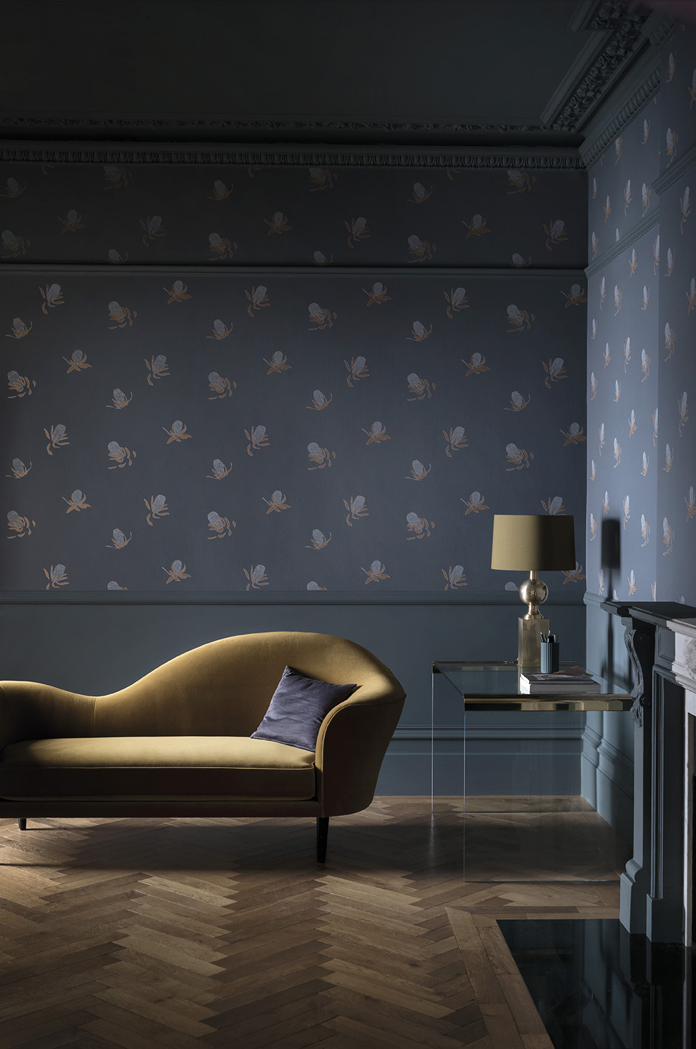 'Tresco' in collaboration with Hugo Dalton by Paint & Paper Library;Wallpaper: Buds - Rufus;Paint: Squid Ink 698 in Pure Flat Emulsion & Architects' Eggshell.