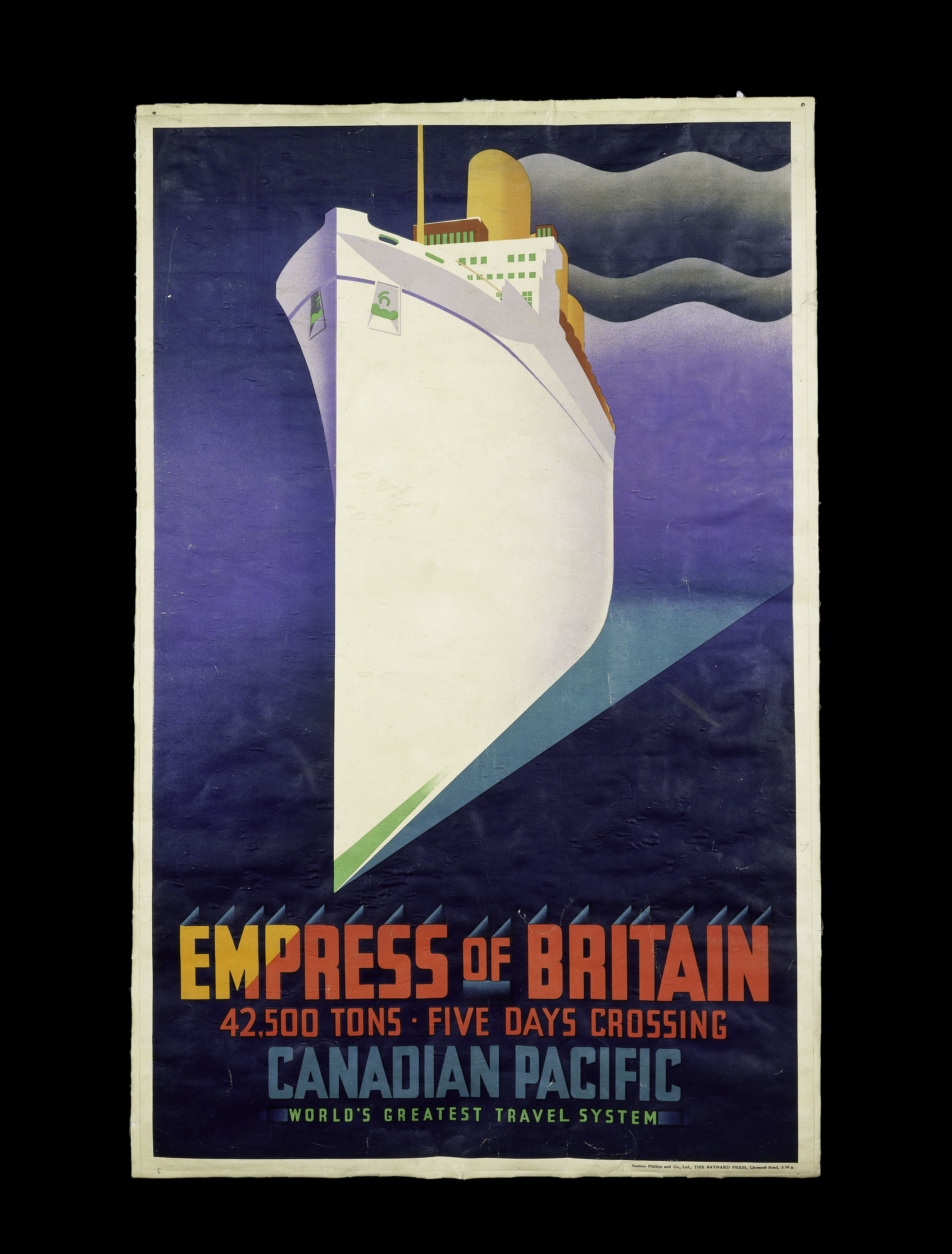 Empress of Britain colour lithograph poster for Canadian Pacific Railways, J.R. Tooby, London, 1920 – 31 © Victoria and Albert Museum, London