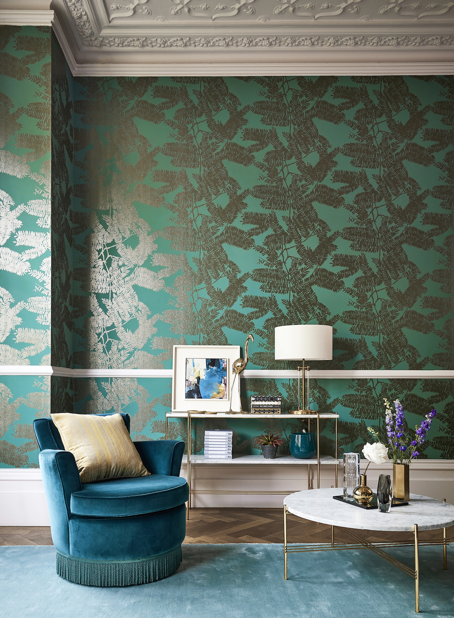 Curtain: Glance - £58 per m, Chair: Folia Velvets - £60 per m, piping Folia Velvets - £60 per m, Cushion: Charm - £50 per m.