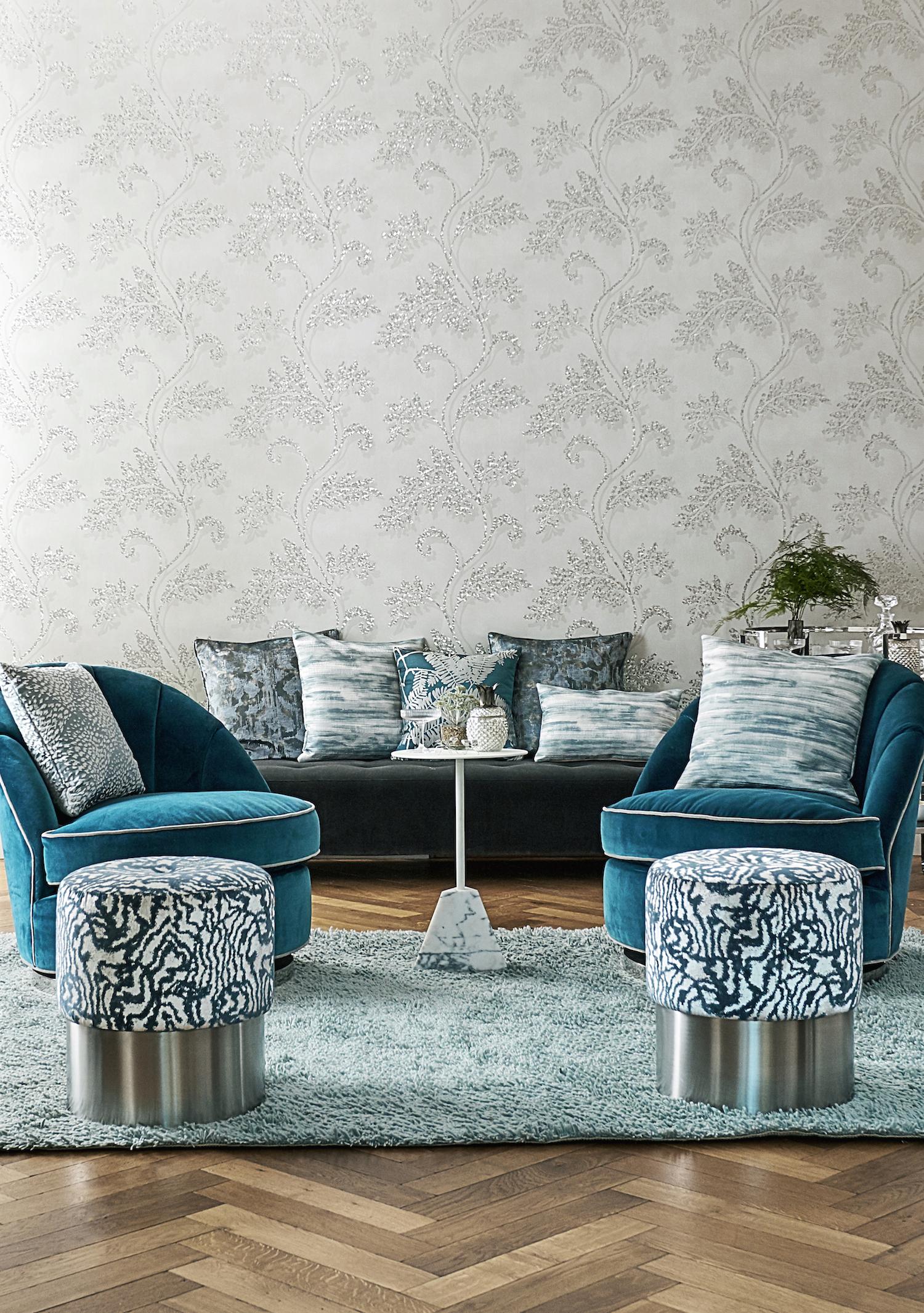 Curtain: Seduire - £60 per m, Chaise: Baroc - £100 per m, Cushion: Harmonise - £60 per m.
