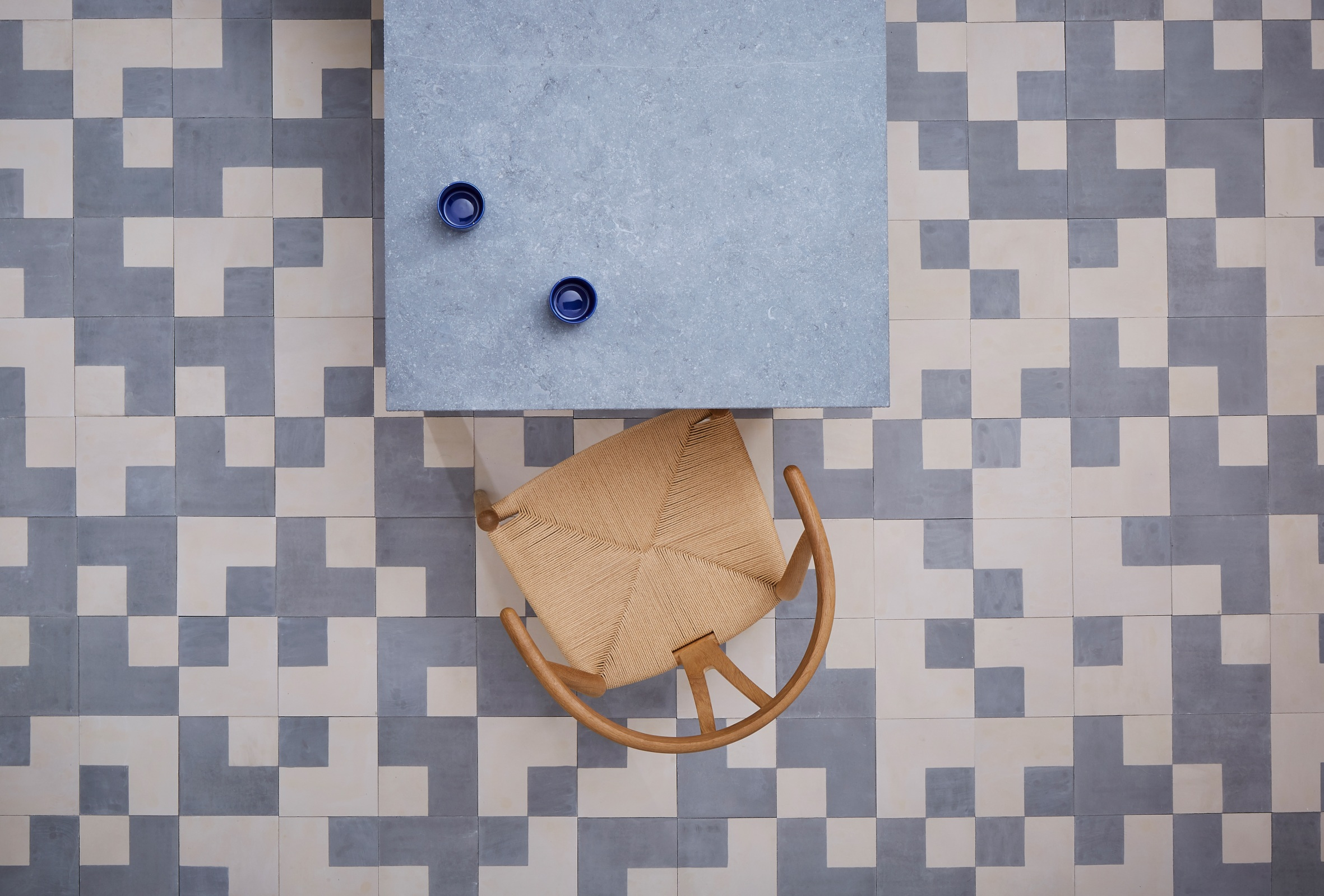 Bert & May x The Conran Shop square and inverse square tiles in Blue
