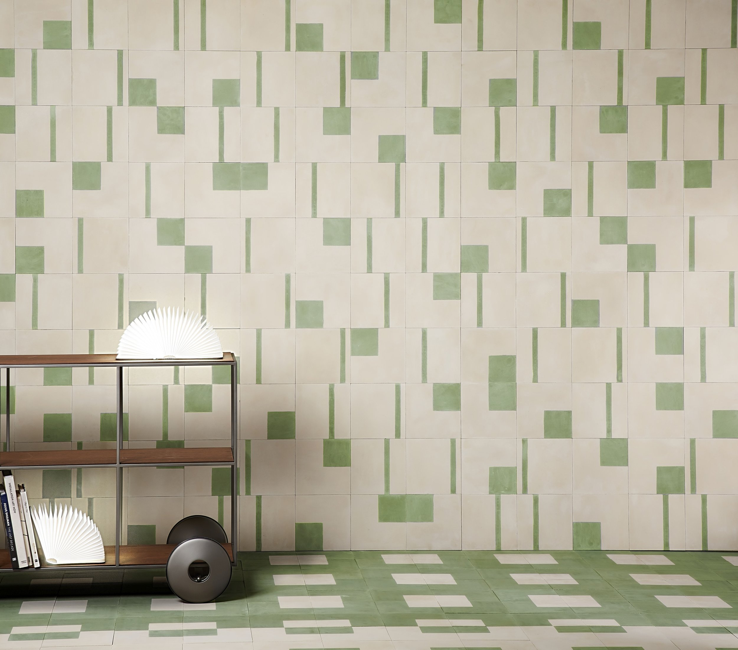 Bert & May x The Conran Shop square, mid stripe and low stripe tiles in green.