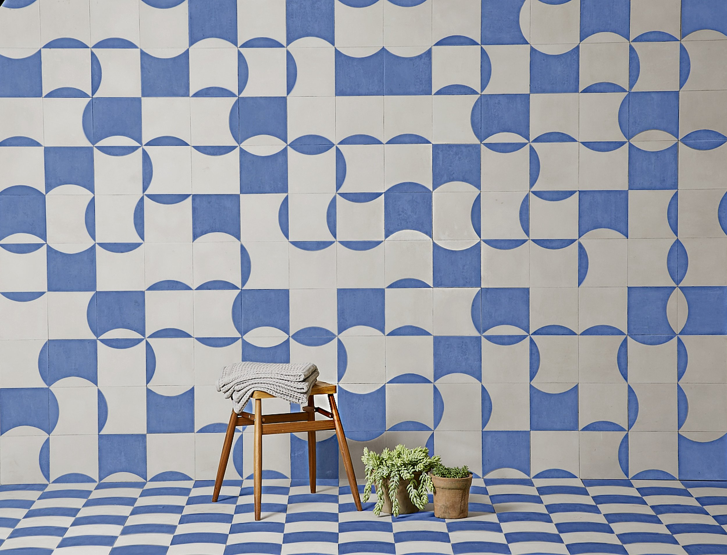 Bert & May x The Conran Shop curve and inverse curve tile in Blue