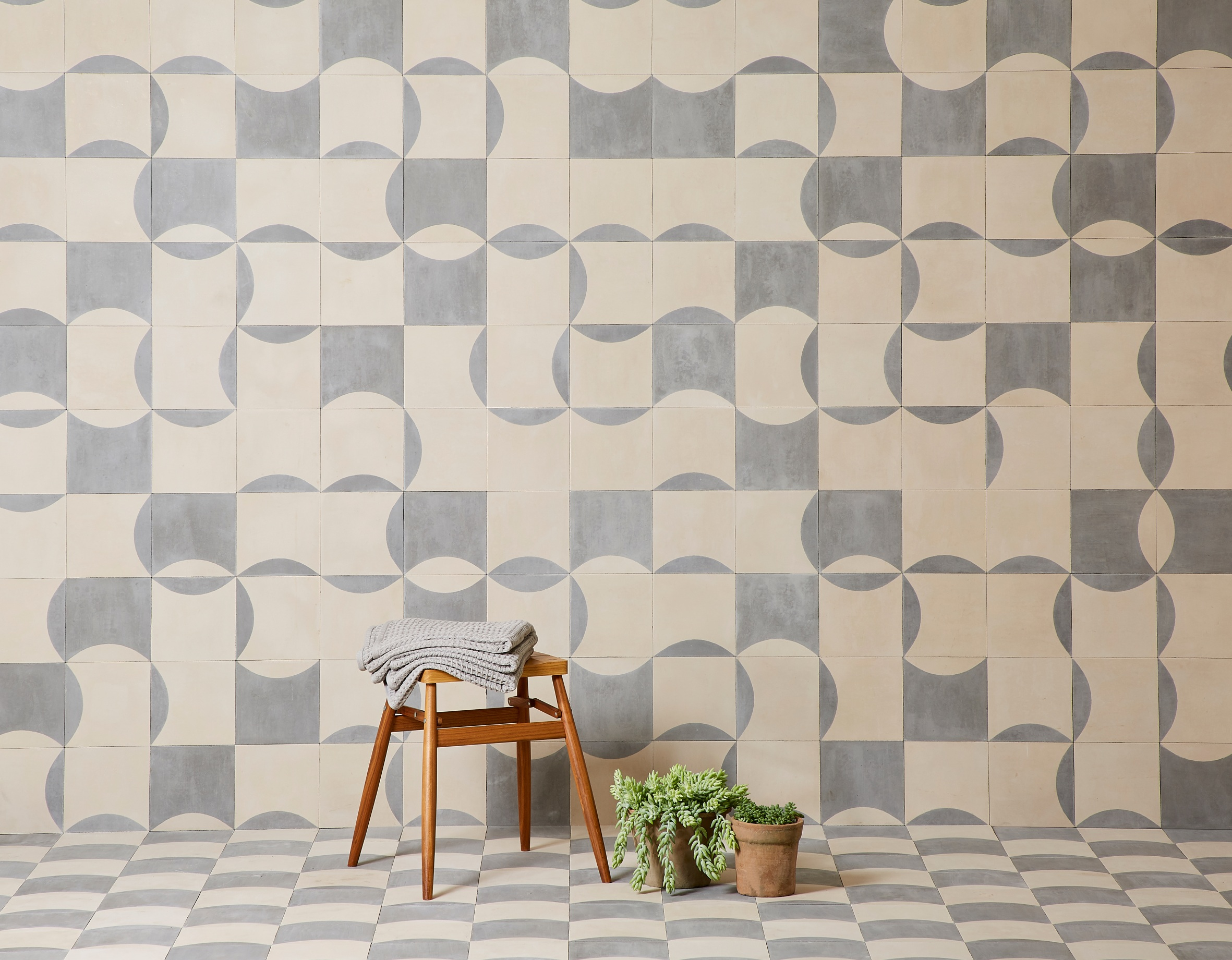 Bert & May x The Conran Shop curve and inverse curve tile in Grey