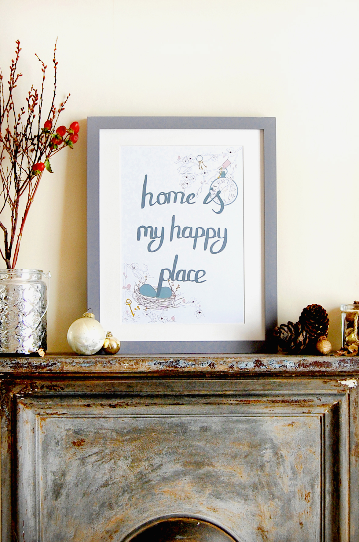 Laura Felicity Design, Art Print, Home Is My Happy Place, Duck Egg.jpg