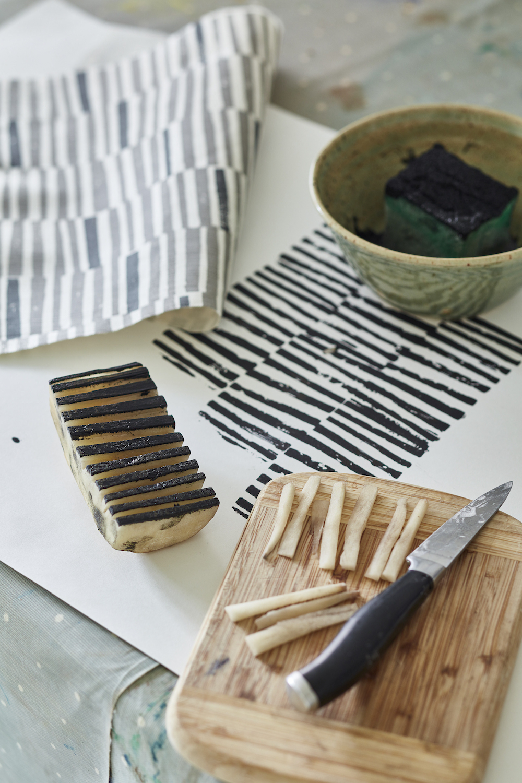 Potato print by Flora Arbuthnott – creating the 'Hand Printed Stripe' design.