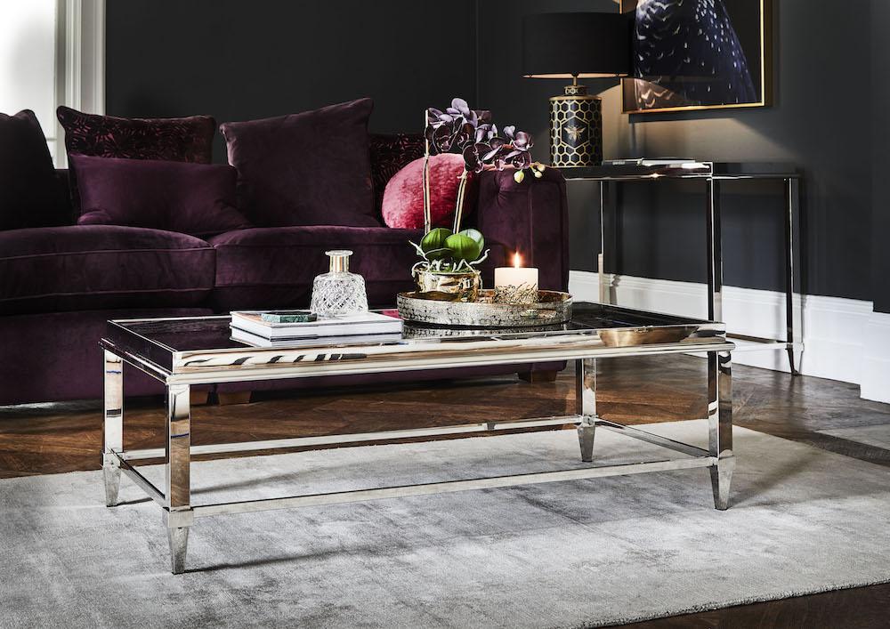 Plush Deco - Arabella Grand Split Sofa £1765, Alexis Coffee Table £795; Blade Smoke Rug £395; Right Blue Parrot Picture.