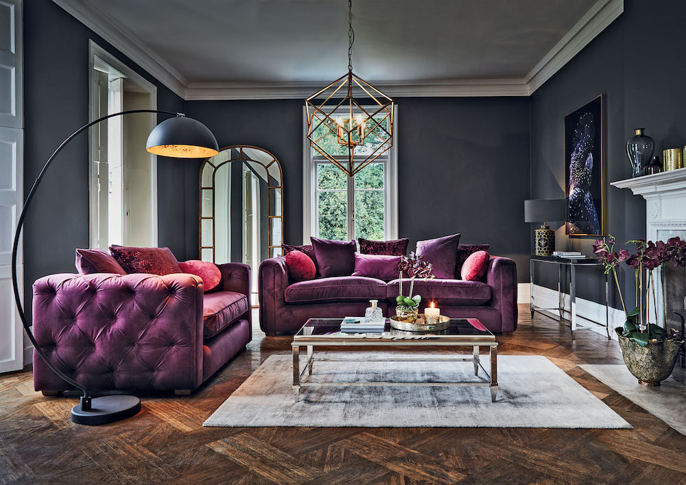 Plush Deco - Arabella Grand Split Sofa £1765; Alexis Coffee Table £795; Sand Black Finish Floor Lamp £199; Blade Smoke Rug £395.