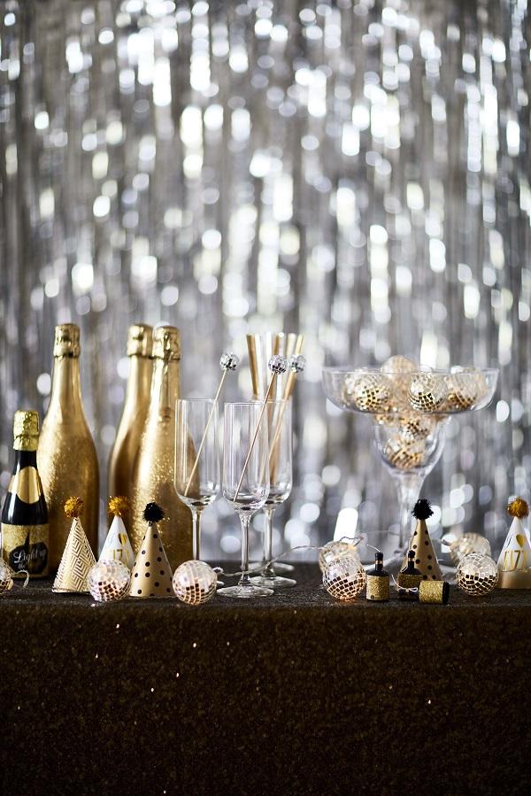 Talking Tables Glitterati range - Disco Ball Lights, Disco Ball Stirrers, Foil Curtain, Mini Party Hats