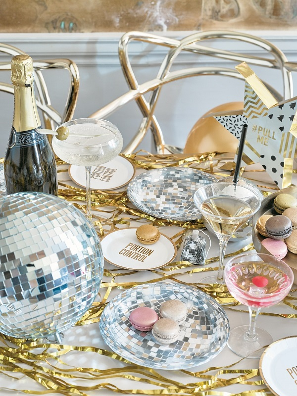 Glitterati Disco Ball And Canape Plates, Giant Disco Ball Decoration, Party Popper Lifestyle