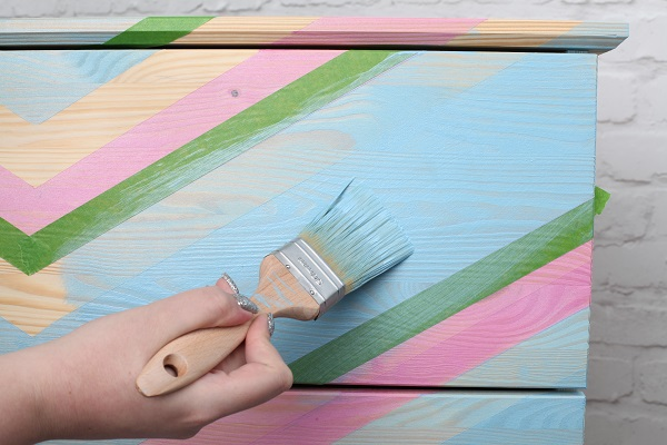 5. Ikea hack - Colour Wash Chevron Chest of Drawers.jpg
