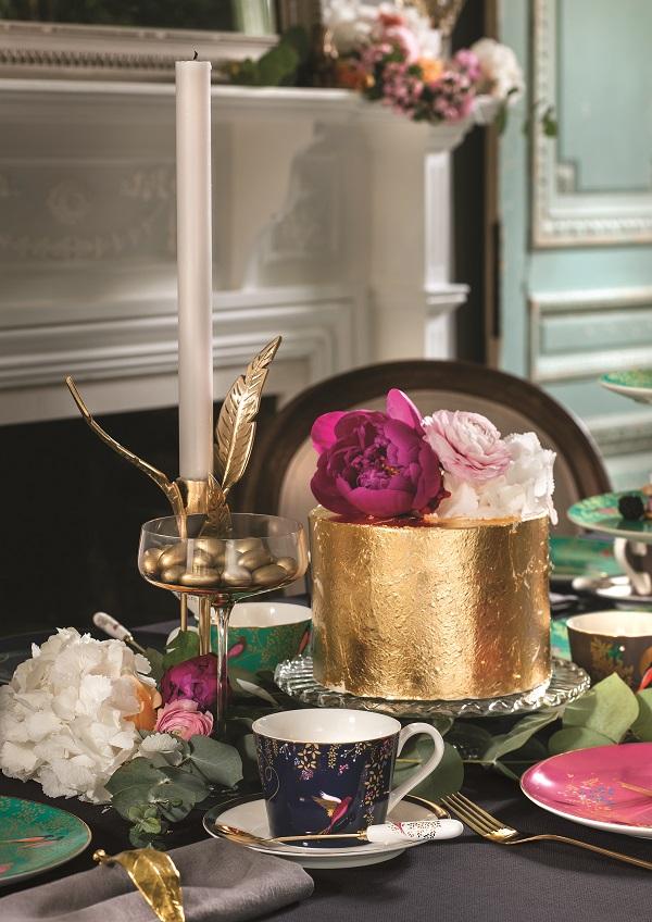 Navy hummingbird tea cup & saucer, £22, green birds tea cup & saucer, £22, set of 4 cake plates, £40