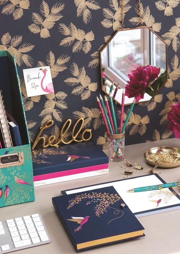 Green bird magazine rack, £16, Document wallets (set of 2), £11, Green bird notebook A4 £15, Flamingo sticky notes set, £9, Pencil set, £12, Luxury hummingbird A5 notebook, £18, Hummingbird weekly to do pad, £8, Green bird pen, £14.