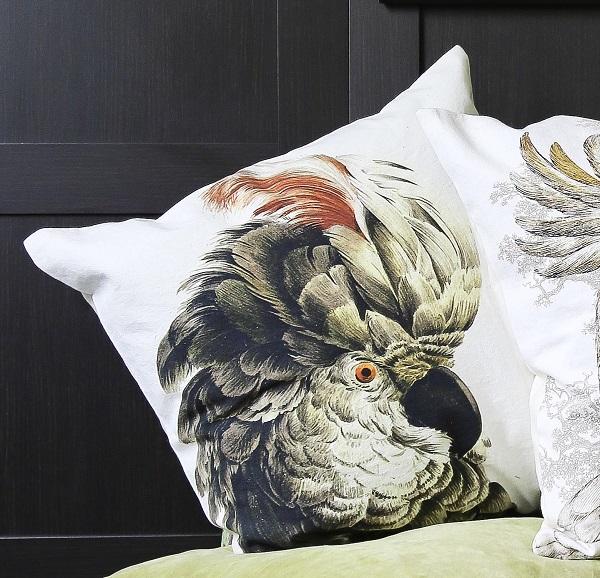 Green Parrot Velvet Cushion, £45. Available Now.