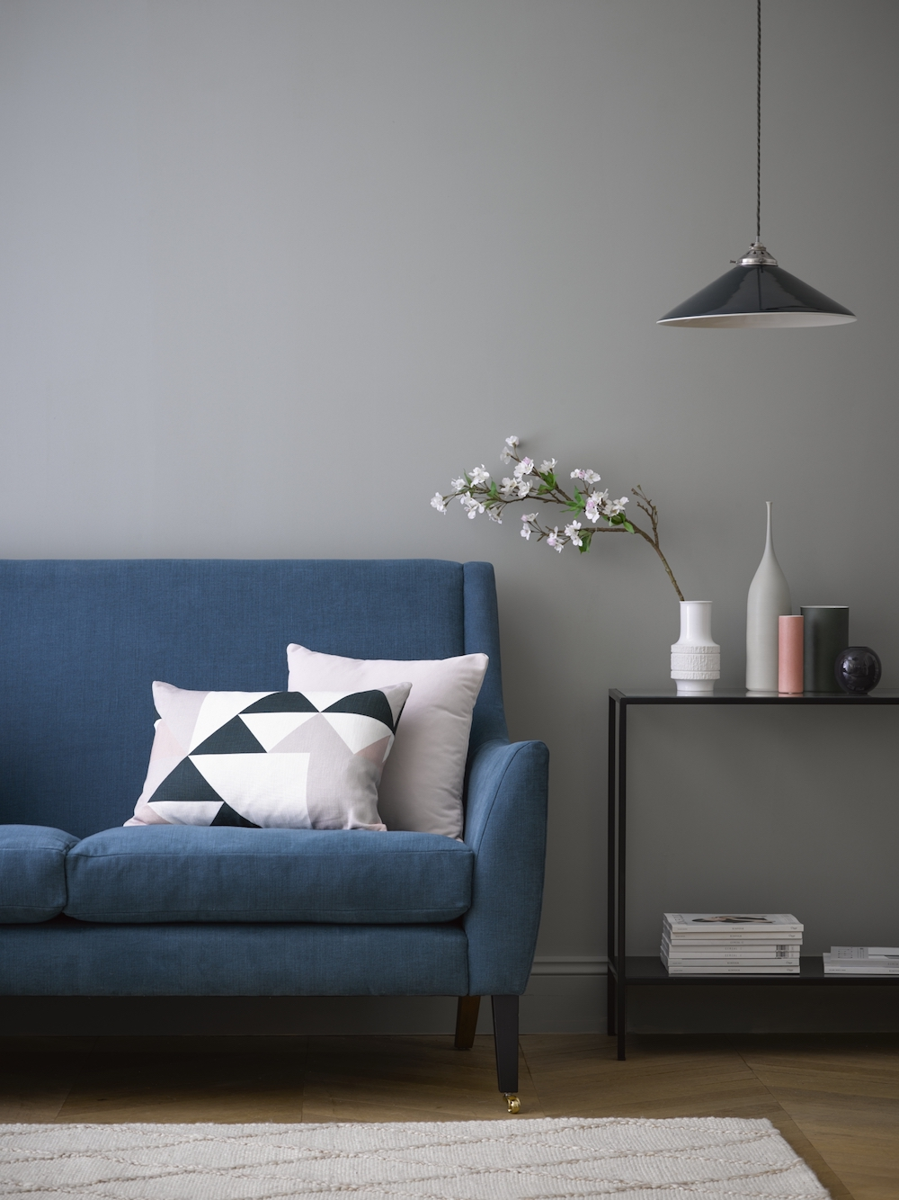 Sofa.com Walter two and a half seat sofa in Evergreen brushed linen cotton, Hepburn console table, House scatter cushion in Lychee smart velvet.jpg