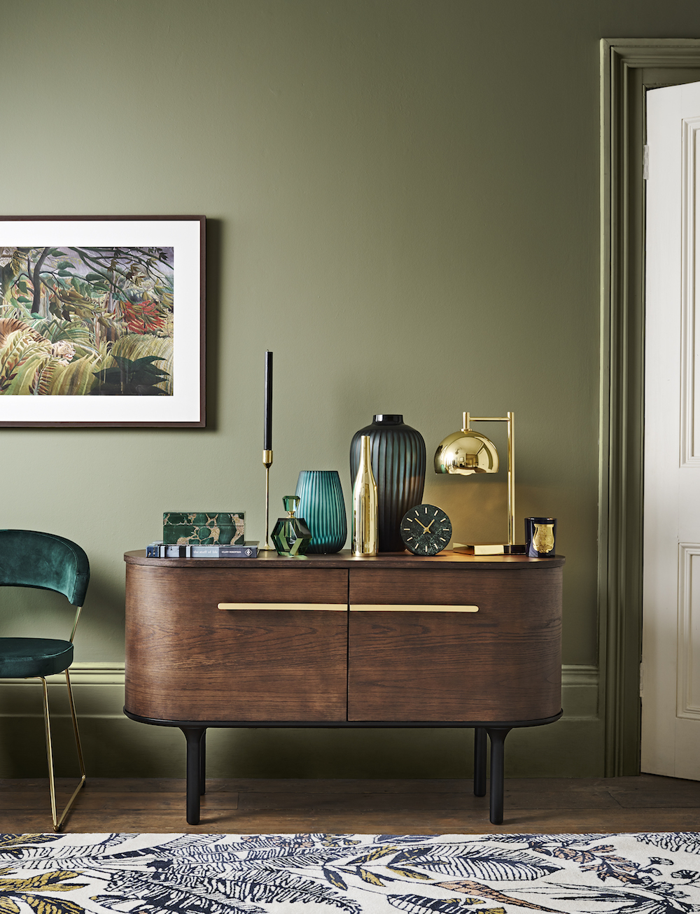 John Lewis Yoko Sideboard, £699, Ipanema Rug, £350, Myers Touch Table Lamp, £90, Henri Rousseau Surprised! Framed Print, £110