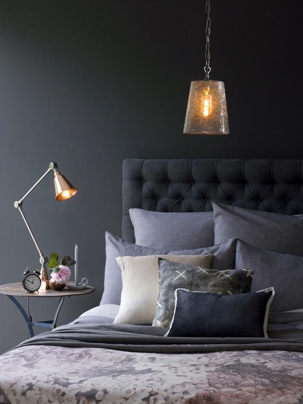 Hazel Ceiling Pendant in Mercurised Glass, £40 Plato Desk Lamp, £165