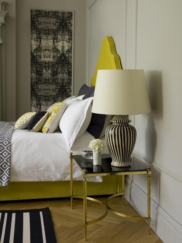 Lottie Table Lamp in Slate, £130, 45cm Straight Empire Shade in Cream Silk. £75