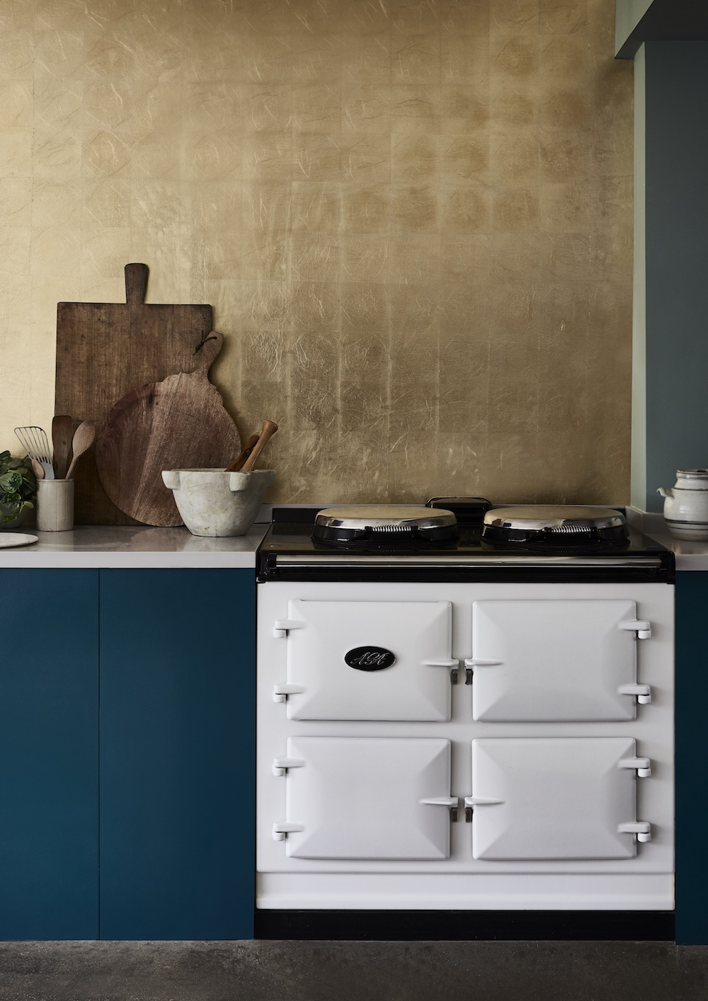 Chalk Paint in Aubusson Blue with Brass Leaf gilding on splashback.