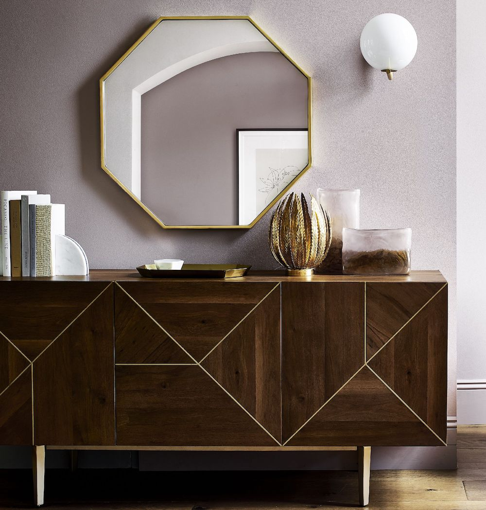 John Lewis & Partners Zelda Octagonal Mirror Antique Brass, £195, Swoon Mendel Sideboard, £699